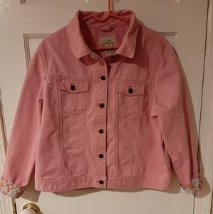 L.L.Bean Pink Denim XL Jacket Floral Trim